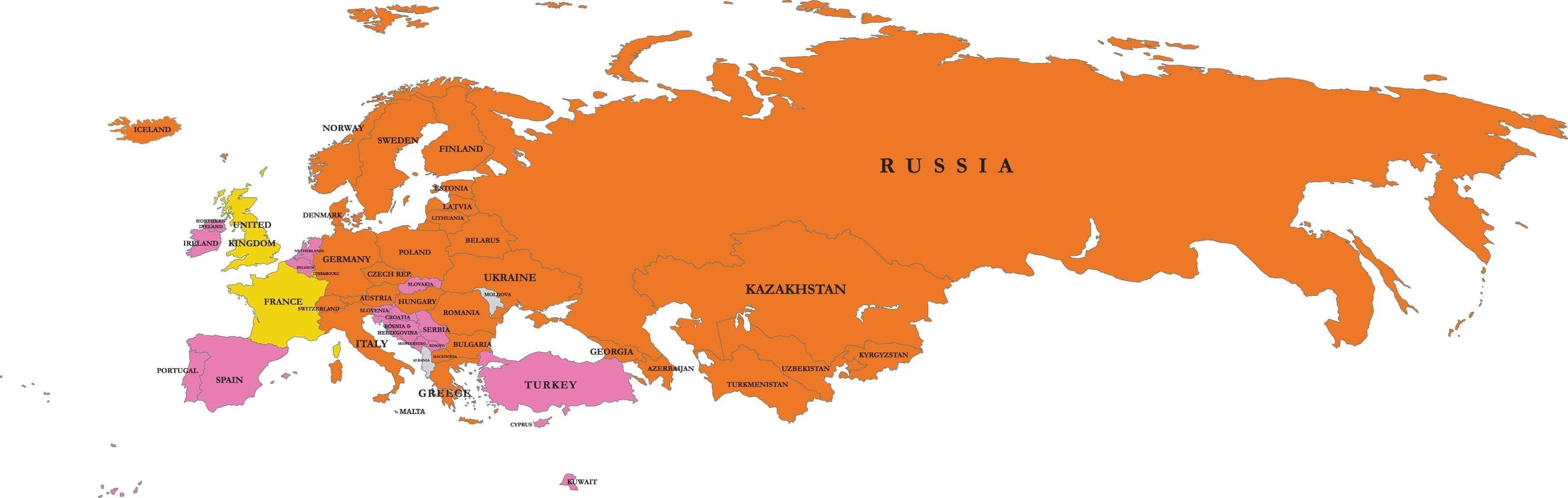 Evropi I Rusija Mapu Mapa Rusije I Evropi Istocne Evrope Evropi