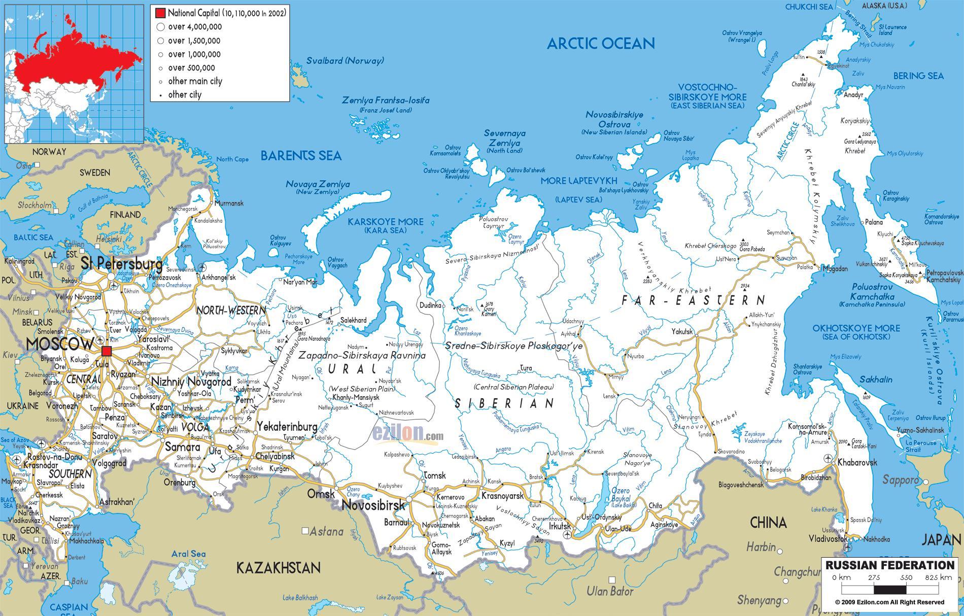 Mapa Puteva Rusije Ruski Mapu Istocne Evrope Evropi