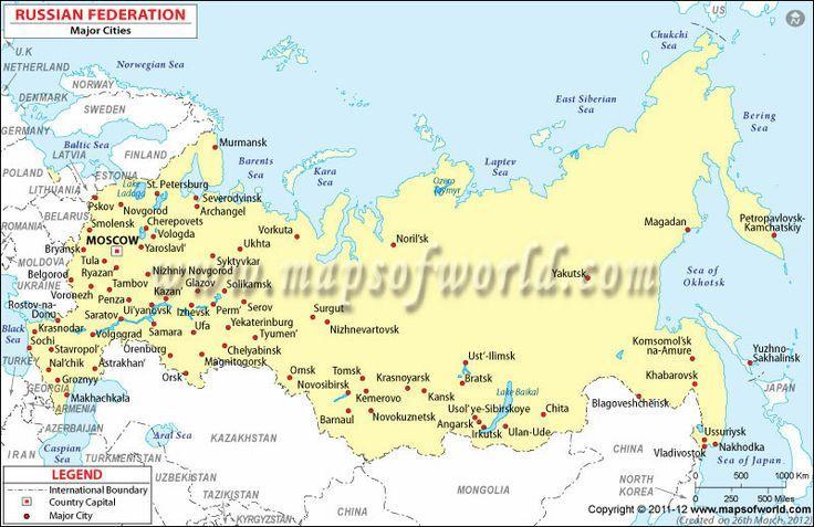 Rusija Mapa Sa Gradovima Mapu Za Rusiju I Gradova Istocne