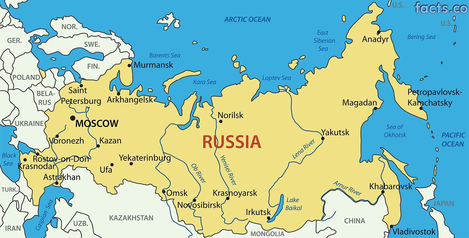rusija karta Rusija mapu označen   Označen karta iz Rusije (Istočne Evrope  rusija karta