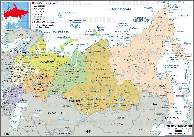 Rusija Mapa Sa Drzave Mapa Je Iz Rusije S Drzava Istocne