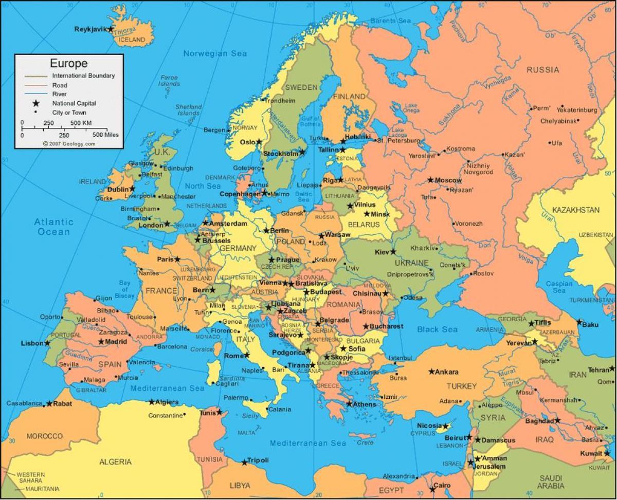 Karta Iz Rusije I Evropi Rusija Kartu Europe Istocne Evrope