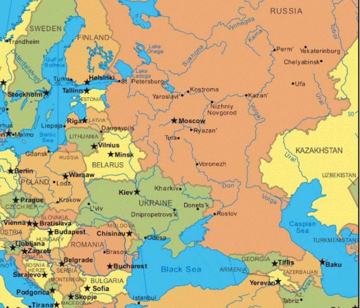 Karta Iz Rusije I Istocne Evrope Mapa Istocne Evrope I Rusija