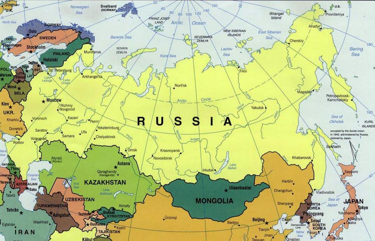 Rusija Mapu I Okolne Drzave Mapa Zemlje Oko Rusije Istocne